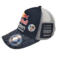 polyester baseball cap with 3D offset printing logo and mesh