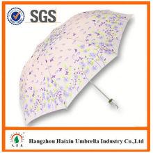 Neueste Fabrik Großhandel Sonnenschirm Print Logo super Mini manuelle 3 fach Dach