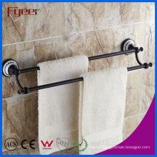 Fyeer Classic Black Bathroom Accessory Brass Double Towel Bars