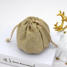 Custom Luxury Logo Drawstring Bag Small Gift Hemp Bags Drawstring Natural Burlap Jute Hemp Draw String Bag