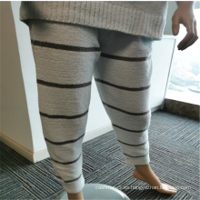 Pantalones largos de pijama de franela interior con estampado de rayas para mujer