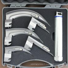 Laryngoscope médical professionnel éclairé par fibre