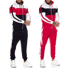 2021 Oversized Autumn New Large Size Sports Stitching Hooded Zipper Top Side Drawstring Pants Men's plus-size hoodies