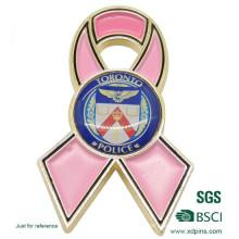 Custom Metal Enamel Cancer Pink Ribbon Lapel Pin