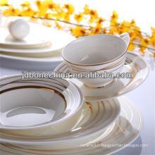 christmas 2014 new design golden porcelain flower gold line stylish royal fine bone china cutlery set