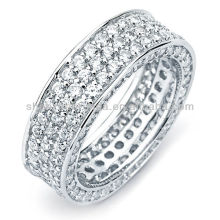 Prata Anel Cubic Zirconia 3-row Engagement-style Jóias Eternity Band Ring vners Fabricante