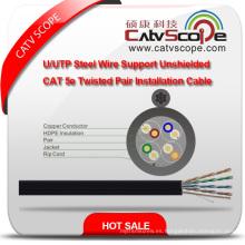 Cableado de estructura de alta calidad Cable LAN Cable de acero U / UTP Soporte Cable de instalación de par trenzado Cat 5e no blindado