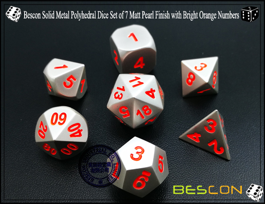 Bescon Solid Metal Polyhedral Dice Set of 7 Matt Pearl Finish with Bright Orange Numbers-1
