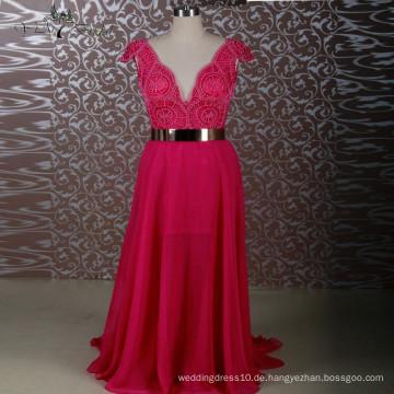 2016 Sexy sehen durch Kappen-Hülsen-Chiffon- aufgeteiltes Bein-Hochzeits-Kleid