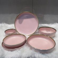 Set di posate in gres con bordo rosa dorato