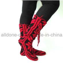 Модный новый дизайн Comfy Мягкие руки Knit Knee Высокие носки тапочки