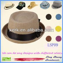 Elegant fedora hat Bowknot Promotion 100% Paper Straw Hat,LSP09