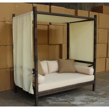 Ротанг открытый лаундж сад кровать с балдахином