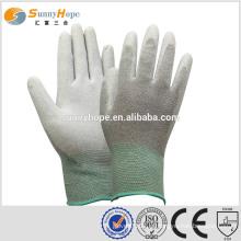 Sunnyhope resistente ao corte 13 Gauge Carbon Fiber gray pu revestida luvas