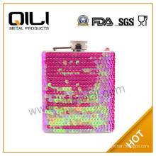 Cheap Glitter Wrapped Pink Hip Flasks
