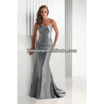 2016 Mermaid/trumpet Gray Strapless A line Sleeveless Floor length Satin Prom dress