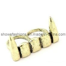 Dois dedos liga antique banhado a punk anel de jóias estilo (xrg12124)