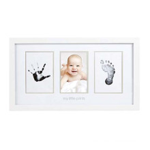 Custom White Newborn Baby Handprint and Footprint Wooden Photo Frame Kit with Included Safe For Baby Clean-Touch Ink Pad
