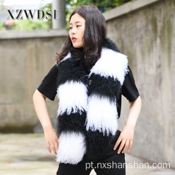 Mulheres Inverno Quente Genuine Mongolian Fur Fur Scarf