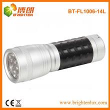 Fabrik Versorgung OEM billig Aluminium weißes Licht 14 führte beste kleine Taschenlampe mit Anti-Rutsch-Gummi-Gehäuse
