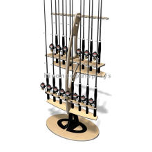 Outdoor Products Retail Store Advertising 2-Layer Double Sided Flooring Wooden Fishing Rod Display Rack