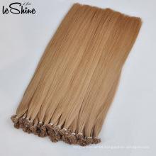 Extensión de cabello con punta de queratina plana dibujada doble