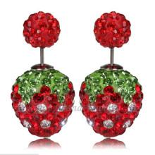Rote Erdbeer Doppelkristallkorne Ohrringe 12mm Strass Shamballa Ohrring