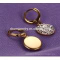 Simples elegante rodada forma brincos de aço inoxidável para mulheres ZZE020