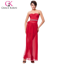 Grace Karin Sexy Occident Wome's Padded Strapless Red Short Dress With Open Leg CL008942-1