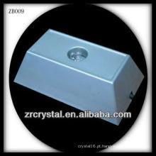 Base de luz LED de plástico retangular para cristal