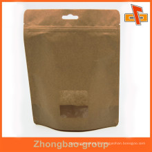 OEM laminated material custom stand up kraft paper bag with window for dry food