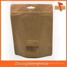 OEM laminado material personalizado stand up saco de papel kraft com janela para alimentos secos