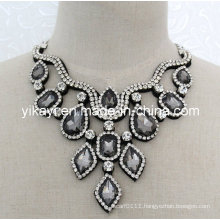 Lady Fashion Grey Beaded Glass Crystal Pendant Collar Necklace (JE0200)