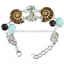 Bracelete de prata esterlina 925 de amonite e multi gemstone mais recente
