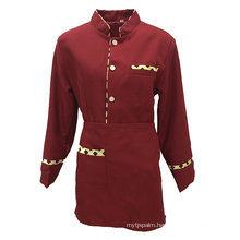 High Quality 100% Polyester Twill Fabric Anti-Wrinkle Quick Dry Hotel Waitress Clothes Uniform Suit
