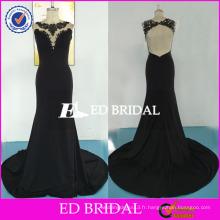ED Bridal Sexy Backless Sans manches Mermaid Long Black Lace Appliques Floor Longueur Jersey Robe de soirée