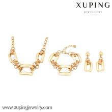 63725 Xuping 18k plaqué bracelet et boucles d'oreilles collier ensembles de cadeau sans pierre