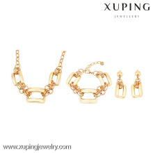 63725 Xuping 18k plated bracelet and earring necklace gift sets without stone