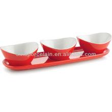 Juego de bocadillos de cerámica de color rojo con base para BS12095B