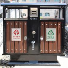 Stahl-Holz Umweltschutz Abfalleimer (A6502)