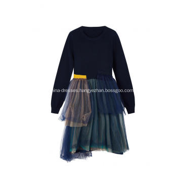 Girl's Knitted Top Crepe Hem Party Dress