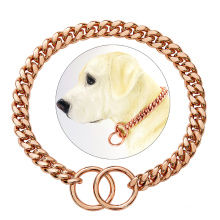 Custom Wholesale 18K Gold Chain Dog Collar 10MM Cuban Link Chain Stainless Steel Metal Pet Collars For Dog Training Collar