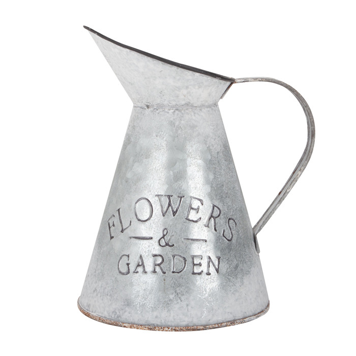 Large White Metal Flower Pitcher