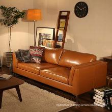 Sofá de couro estilo japonês e moderna sala de visitas