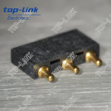 Conector de clavija Pogo de ángulo recto de latón con muelle cargado, 3 contactos