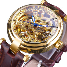 Forsining Golden Watches Fashion Blue Hands Mens Automatic Mechanical Watch Self-wind Watches Leather Luminous Hands