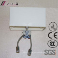 Chrome Double Goose Neck Reading Wall Lamp with Fabric Shade
