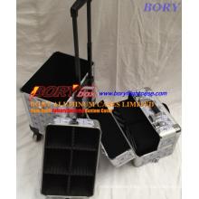 Wholesale Best Price Silver Diamond Aluminum Cosmetic Rolling Case