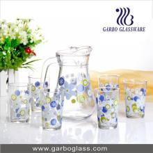 Promotion Ensemble de jarre et de coupe en verre 7PCS