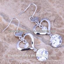 Boucles d'oreilles pendantes coeur en argent plaqué or blanc 3A zircon 925 Les bijoux plaqués rhodium sont votre bonne sélection